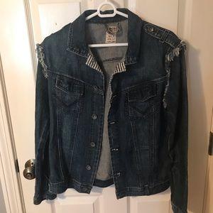 Volcom denim jacket with fringe sleeves